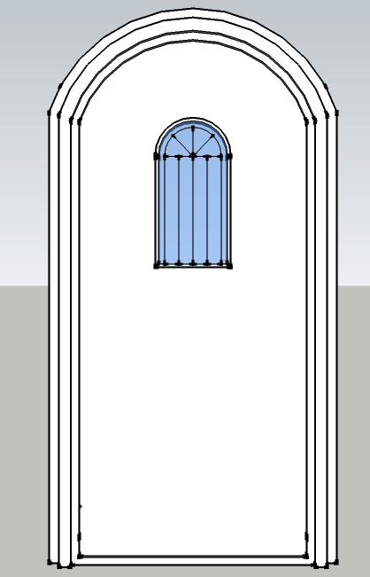 Arched Door with Leaded Glass