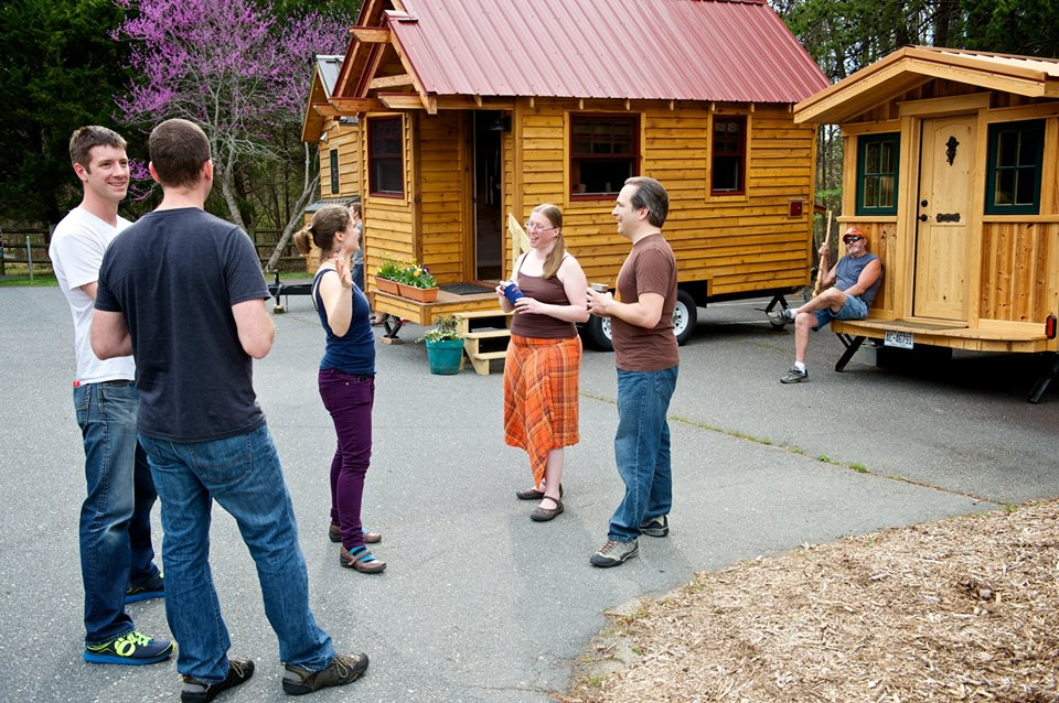 meeting fellow tiny housers and touring their wee homes in anticipation of the Tiny House Conference (photo credit: Chris Tack)