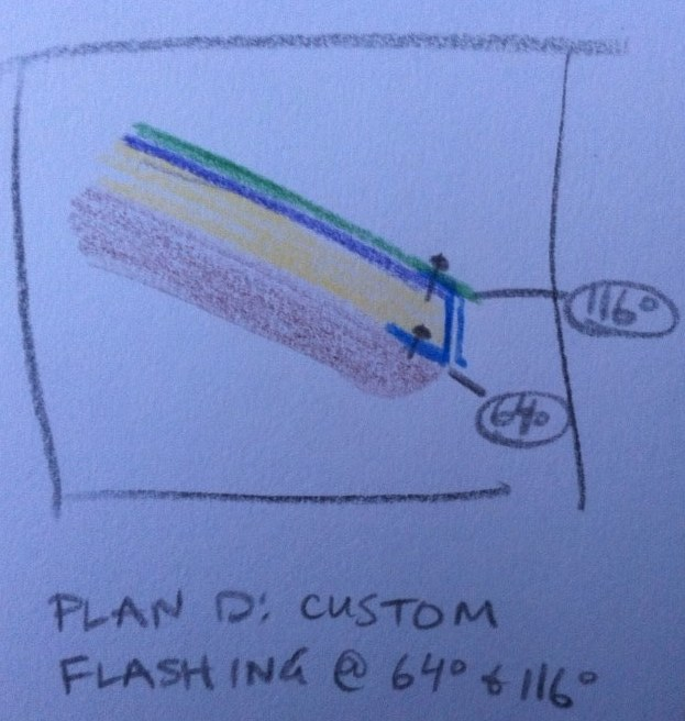 Plan D is to have Vinje's make me custom flashing with a 64 degree angle on the bottom and a 116 degree angle on the top