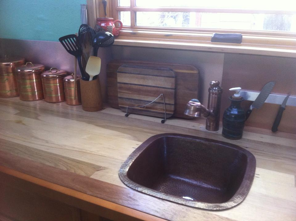 Copper Canisters, Copper Sink & Faucet