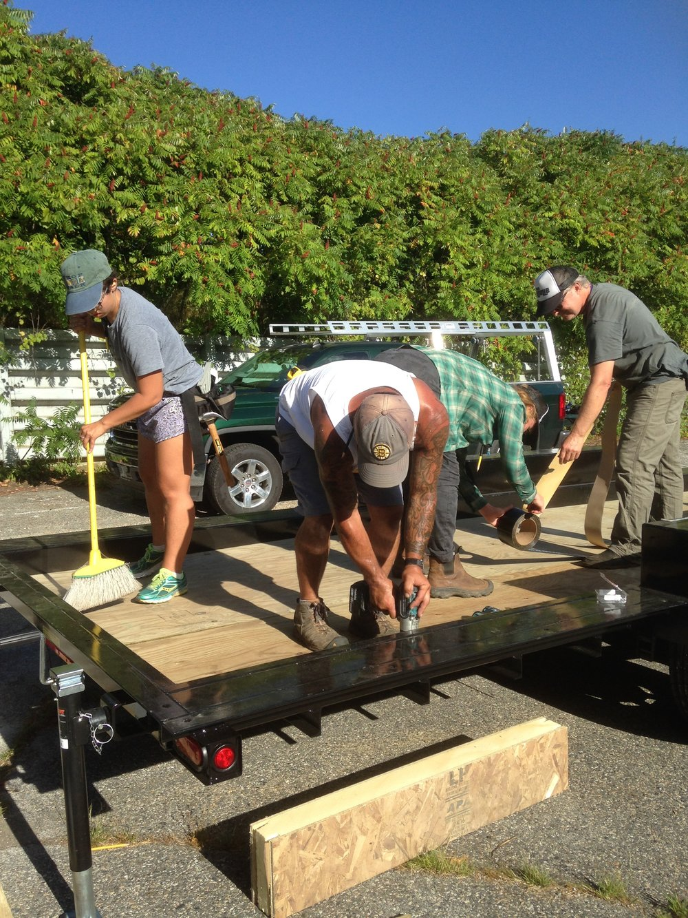 The trailer and the floor system are almost ready to be joined after Day 1 of the O'Keefe Tiny House Build Blitz!