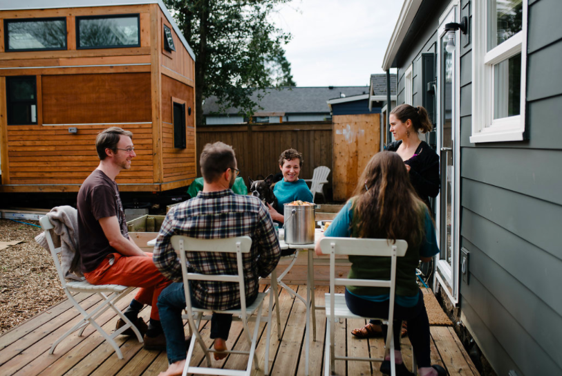 Hanging out on the porch at Going Places - a tiny cohousing community in Portland, OR (photo by  Kristina Lynn Photography )