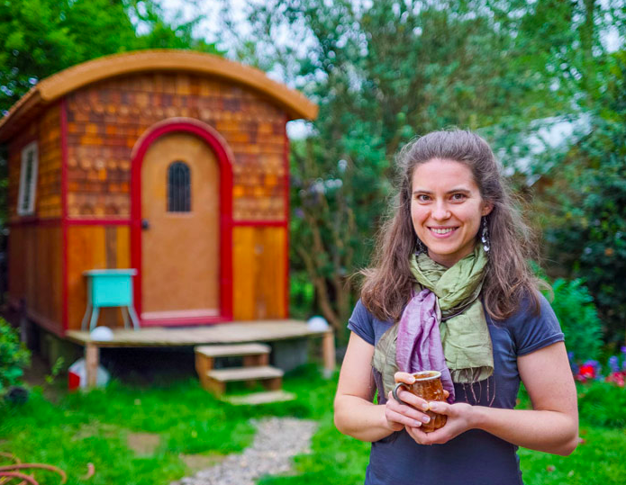 Lina designed and built her first tiny house, The Lucky Penny, in 2014. Photo credit: Tiny House Giant Journey