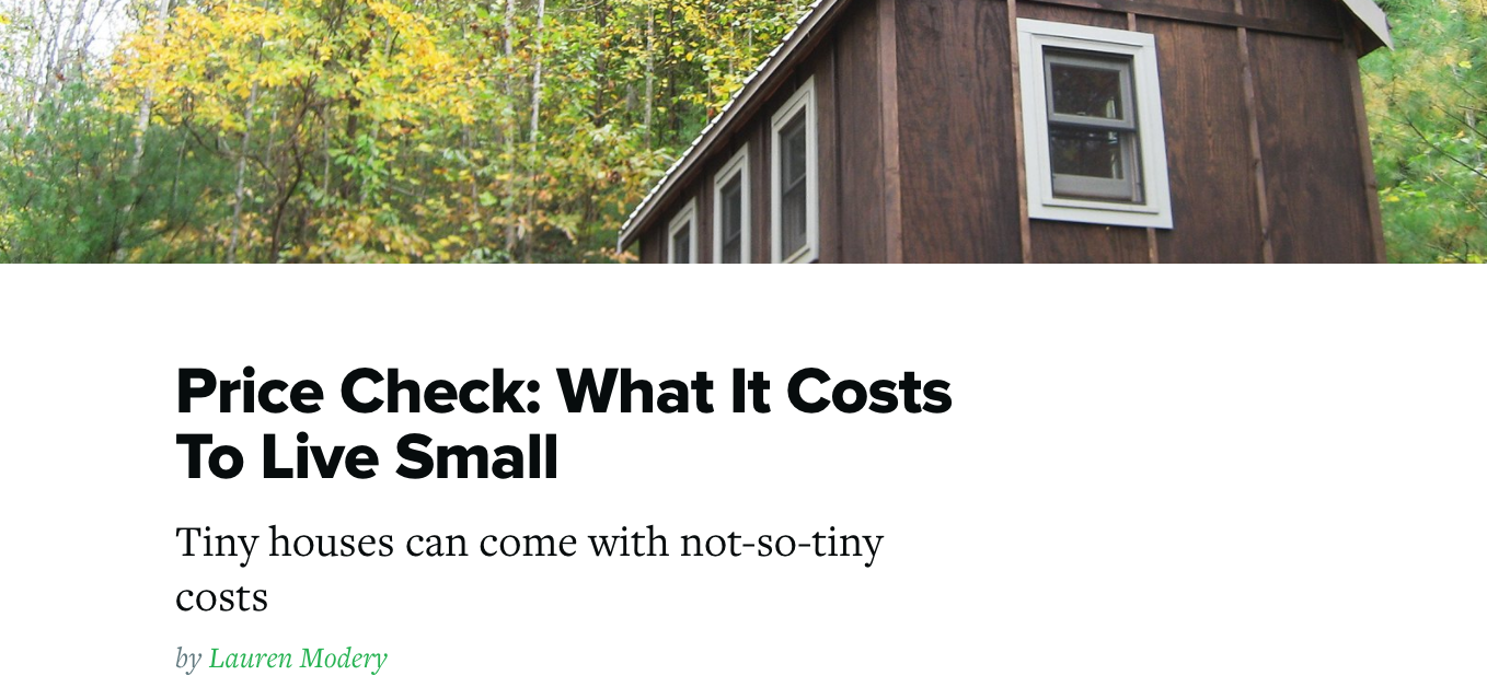 Alek Lisefski Tiny House good magazine looks at tiny house costs — niche consulting
