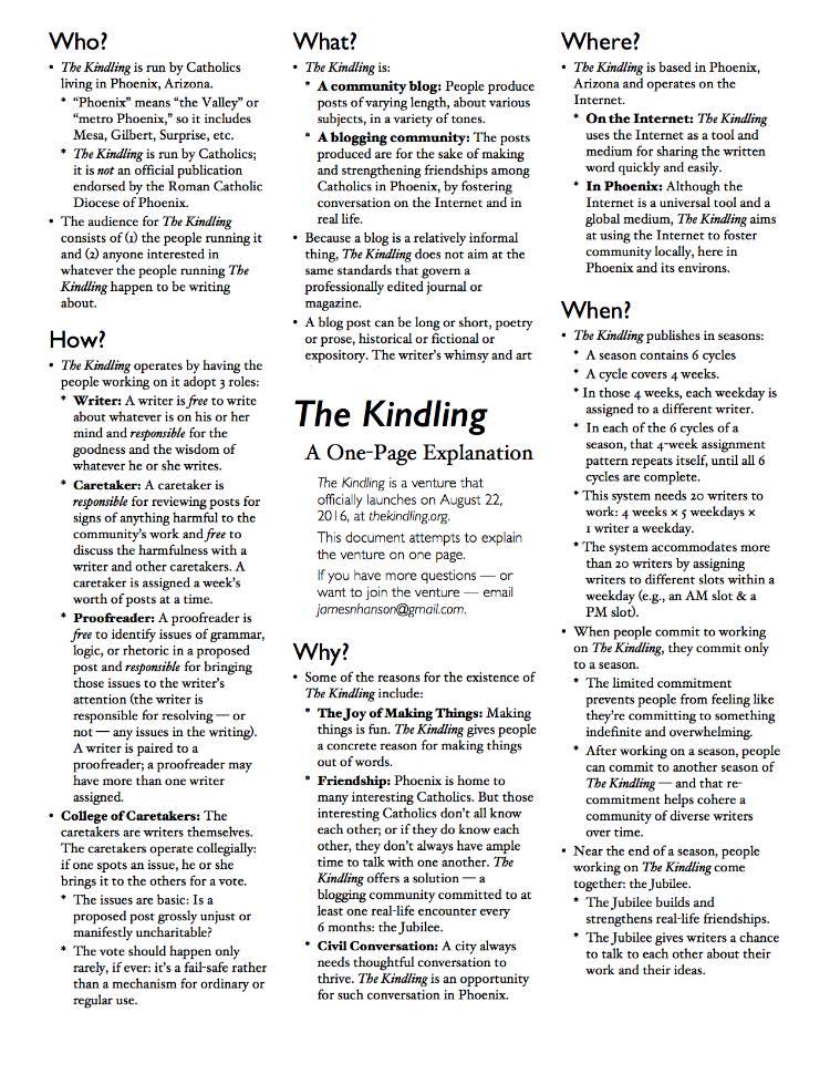 A one-page explanation of  The Kindling . Click on the image and you open a PDF of the one-page explanation.