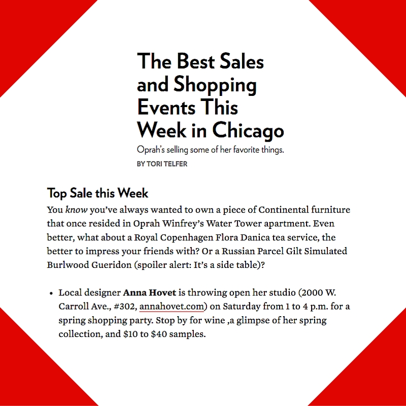 April 16, 2015 - Chicago Magazine Placement for Anna Hovet
