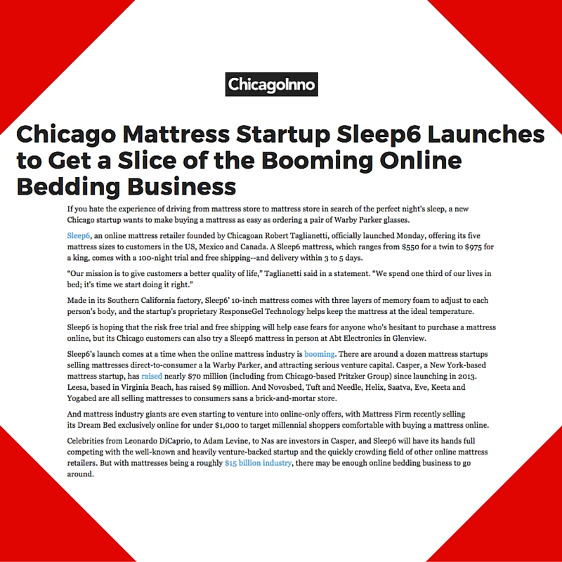 January 18, 2016 - ChicagoInno Placement for Sleep6