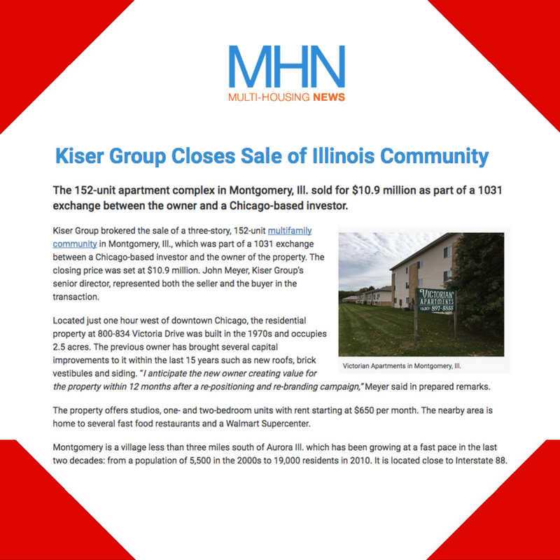 June 8, 2017 - Multihousing News Placement for Kiser Group