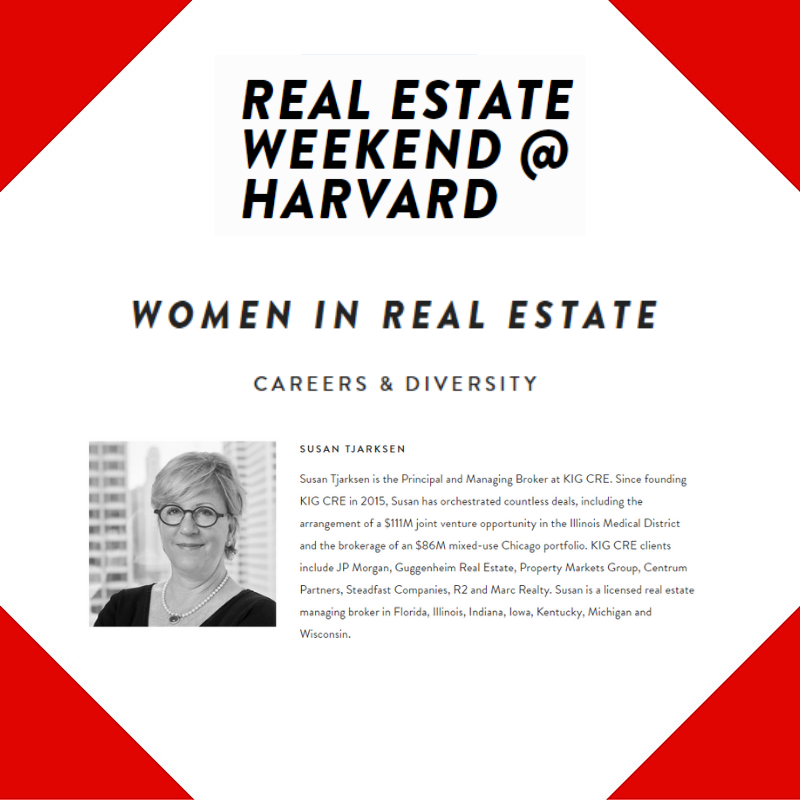 Securing Panel Seat for KIG CRE's Susan Tjarksen at Harvard's Real Estate Weekend