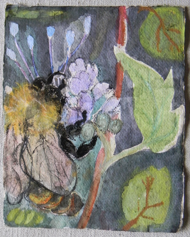 Bee and Flowers Study#1 9x11 sold