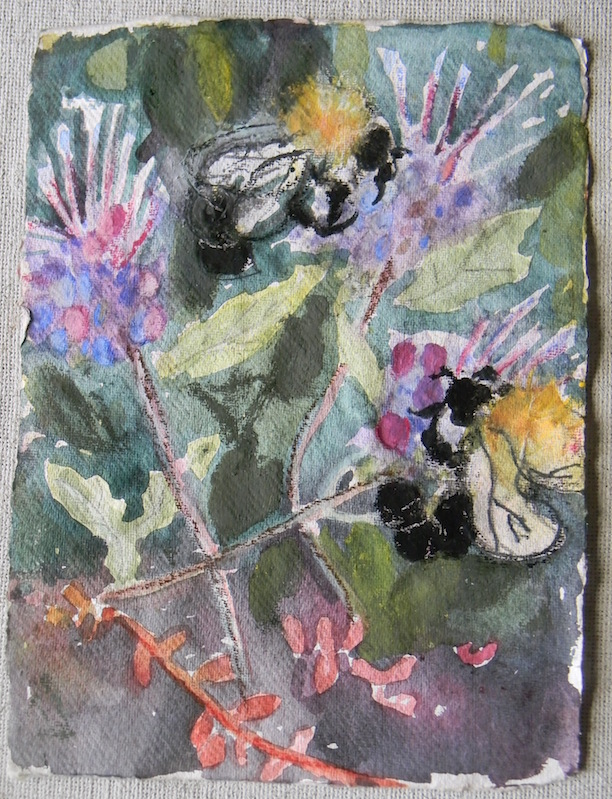 Bee and Flowers Study#4 9x11 $150