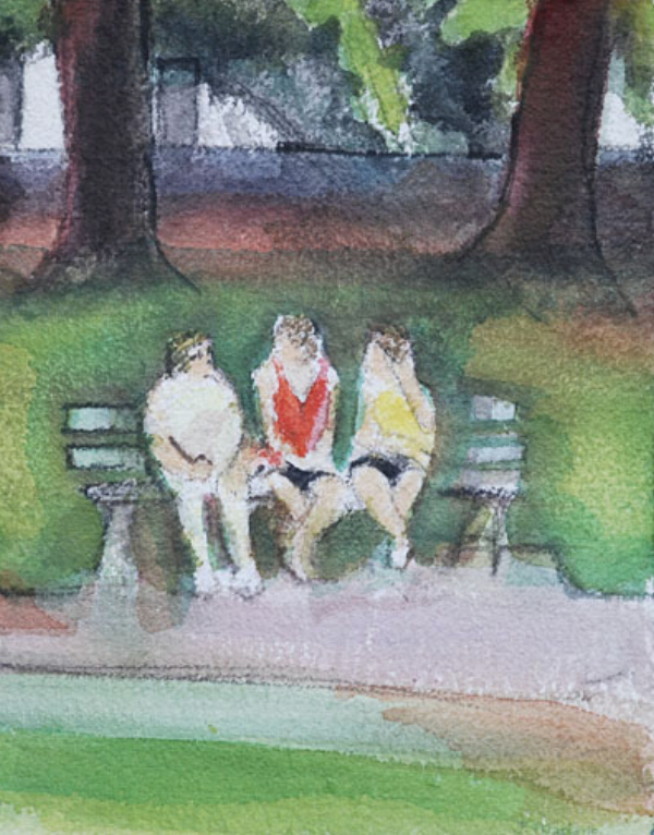 Three Women in the Park 9x12 $250