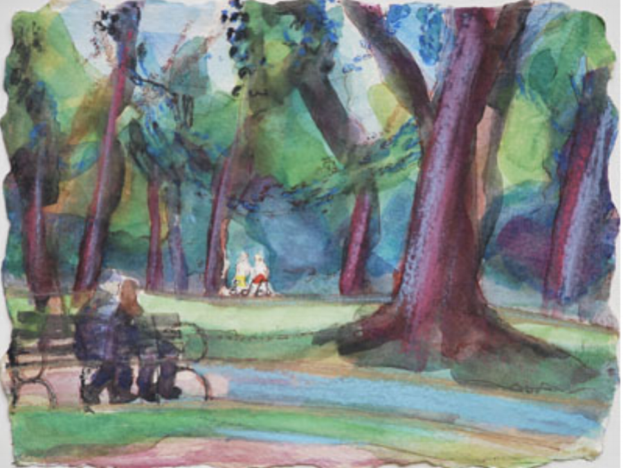 Couple in the Park 9x12 $300