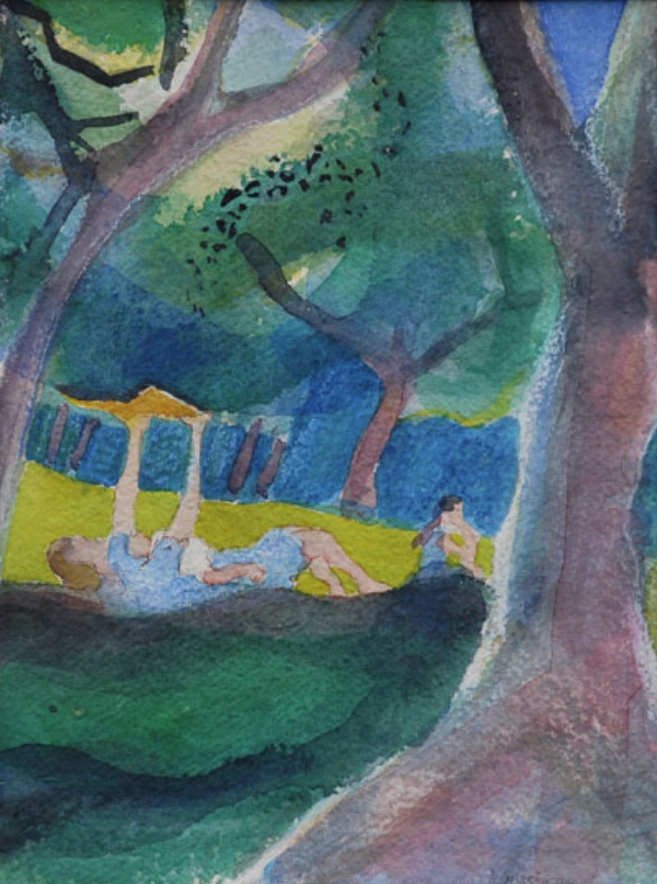 Woman with Child Reading in the Park 9x12 $300