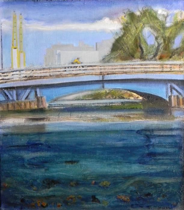 Crossing the 3rd St Bridge 14x16 $400
