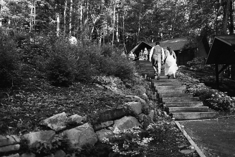 walking up stairs at Nantahala Weddings