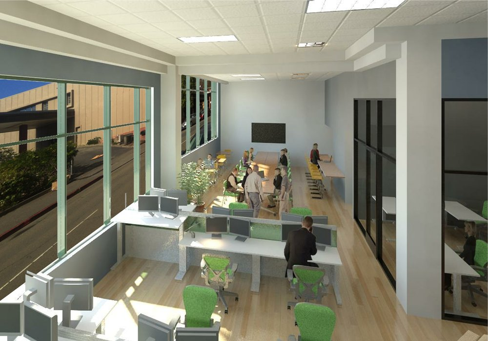 coworking space open desks rendering