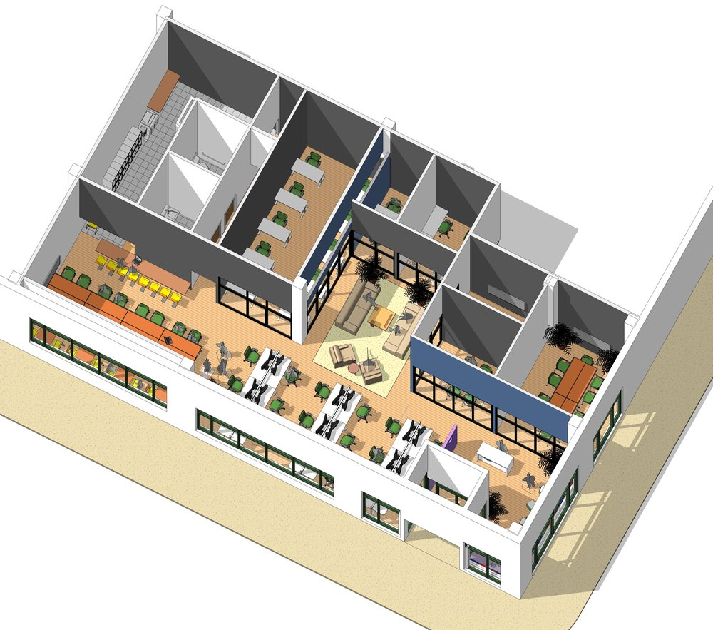 3D architect rendering - Overhead aerial 3D architect rendering