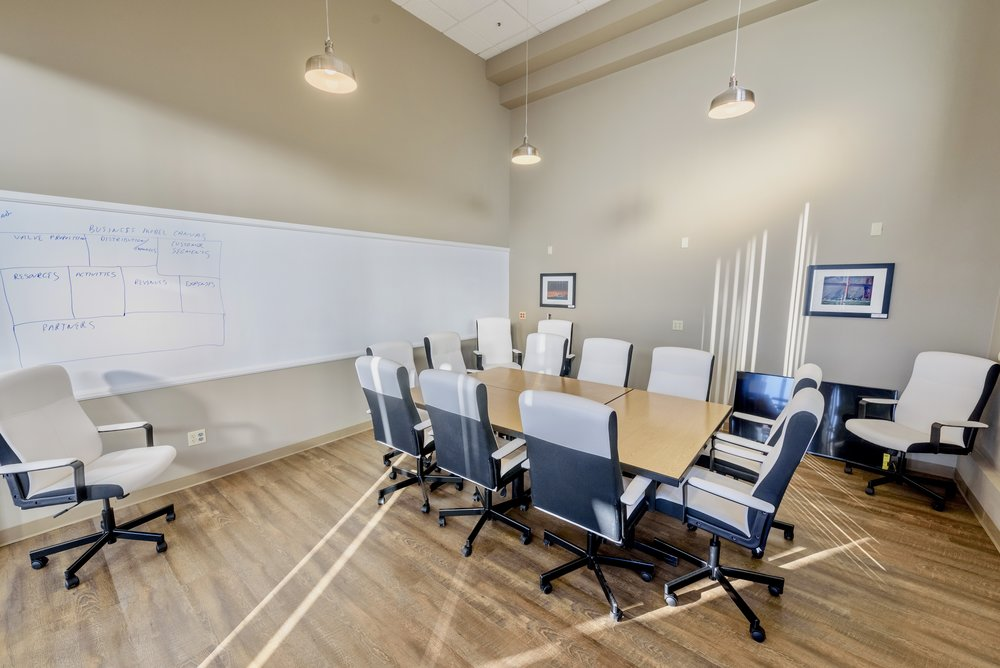 large conference room with Ideapaint writable wall