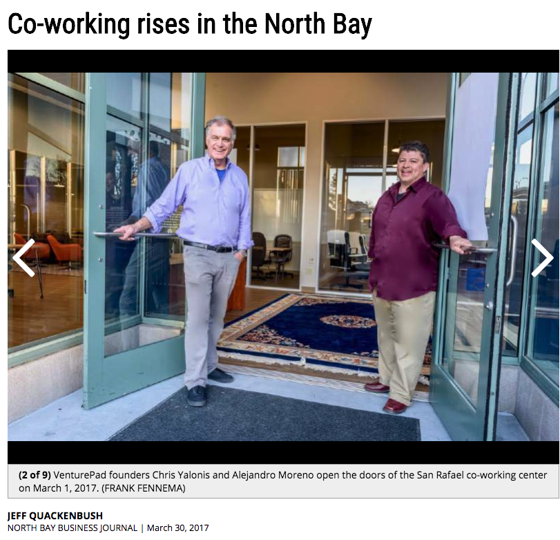 North Bay Business Journal article, March 30, 2017 - Coworking Rises In the North Bay