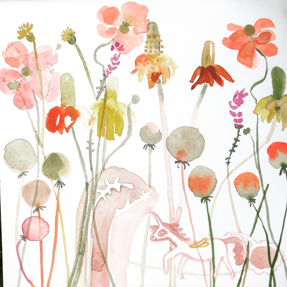 This is where I practice drawing Japanese Anemones, part of the brief, and somehow a unicorn snuck in there.