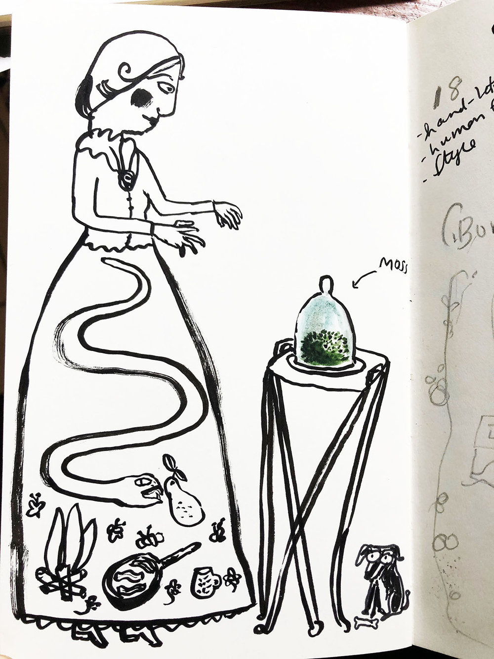 Sketchbook page with fancy but probably too weird skirt work. I also added my dog Pablo as the model for Mary Jone's dog Heinrich. Later I made both Pablo and Heinrich, naturally.
