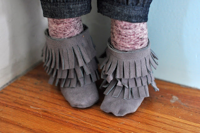 I made these boots for Natalie's doll from a scrap of genuine leather! Be sure and buy a leather needle for your machine if you attempt this.