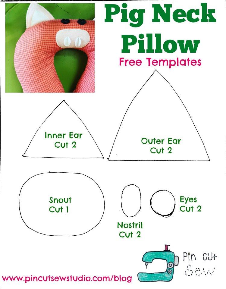 Pig Neck Pillow * Free Templates — Pin, Cut, Sew