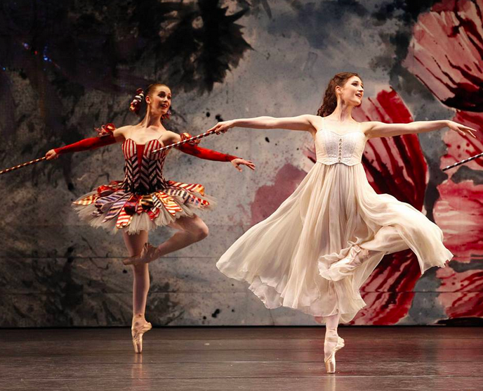Sharni Spencer as a Mirliton and Jessica Fyfe as Clara in the Australian Ballet's Nutcracker. Photography by Jeff Busby