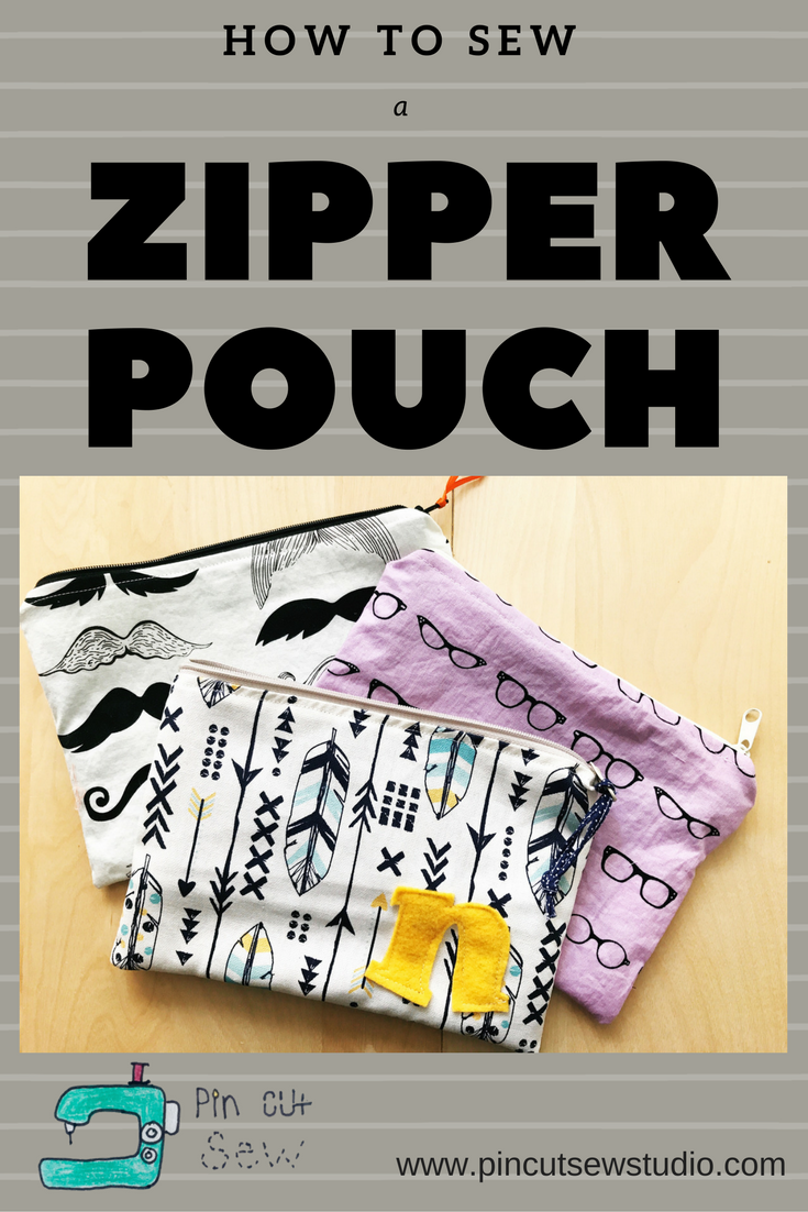 How to sew a zipper pouch, by Pin, Cut, Sew studio
