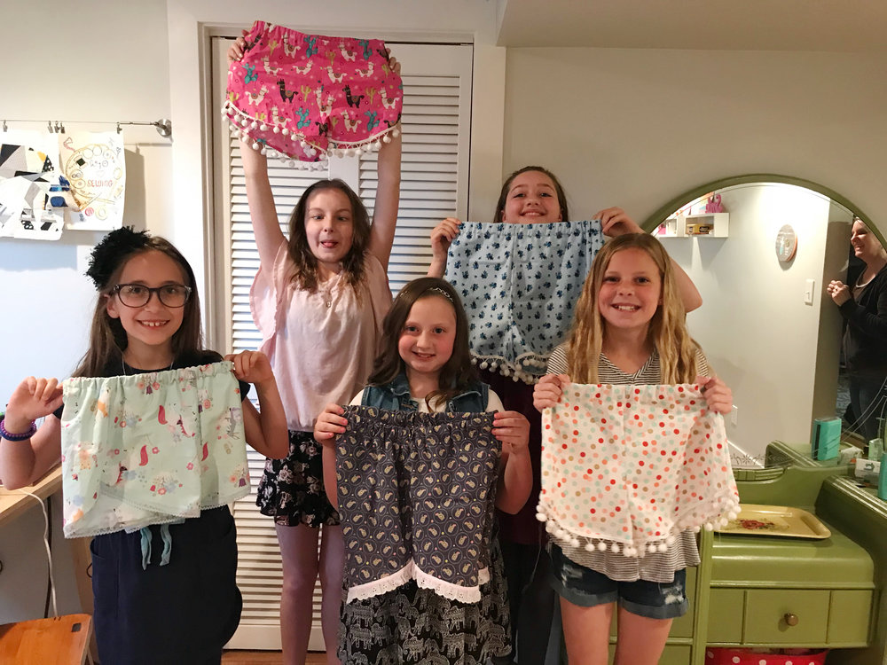 Sewing clothes with kids