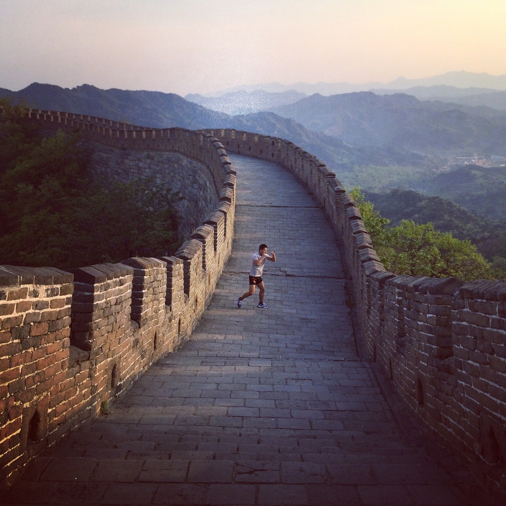 MMA star Ji Xian training on the Great Wall.JPG