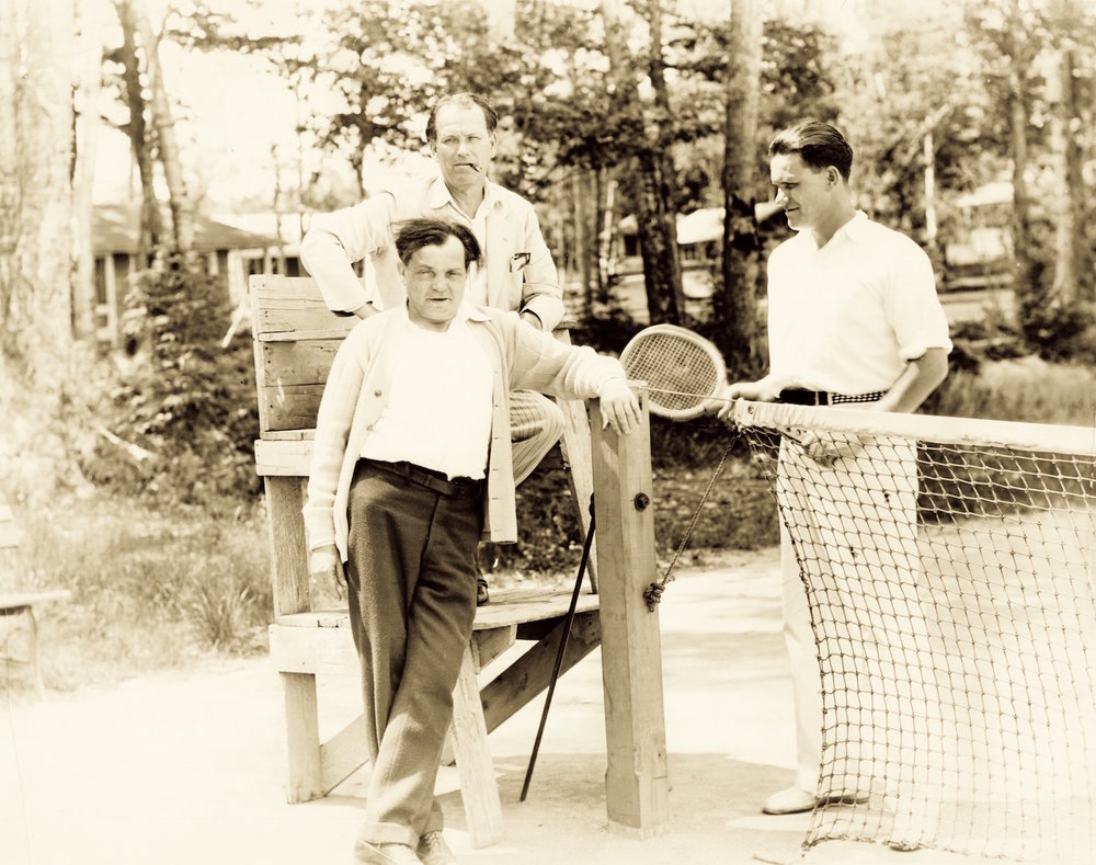 Samuel Shipman (standing, left), along with John B. Hymer  (seated, center), and Hymer's son, Warren Hymer (standing, right). (Image courtesy of Jenny Oby.)