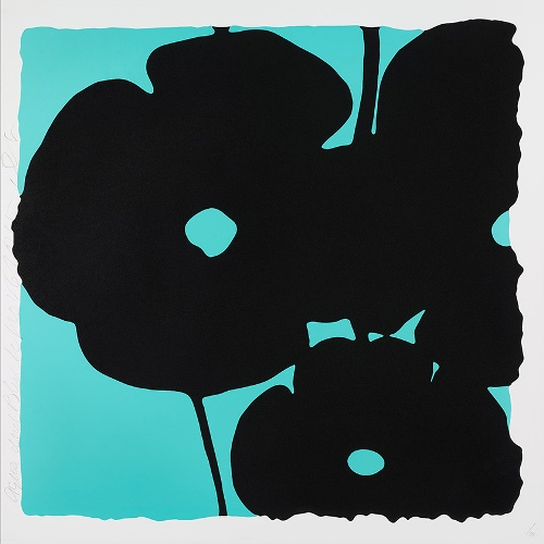 Reversal Poppies, Aqua and Black