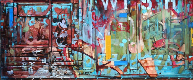 We have two new paintings from Carol, including this piece which is a continuation of her Rail Car series. Inspired by the railyards that are located near her studio, this intriguing painting makes art of industrial decay and graffiti. See Carol's available paintings here.
