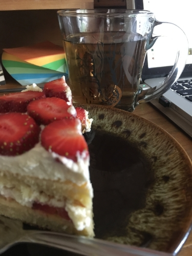 Currently drinking: Jasmine green tea with a slice of homemade Victoria sponge cake, made with fresh strawberries the hubs and I picked the other day.