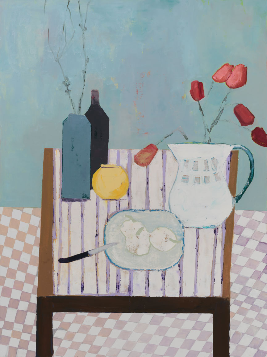 Striped Table and Pears
