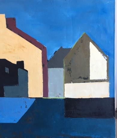 "Night, Long Pier, 40""x34"", oil on canvas, 2015"