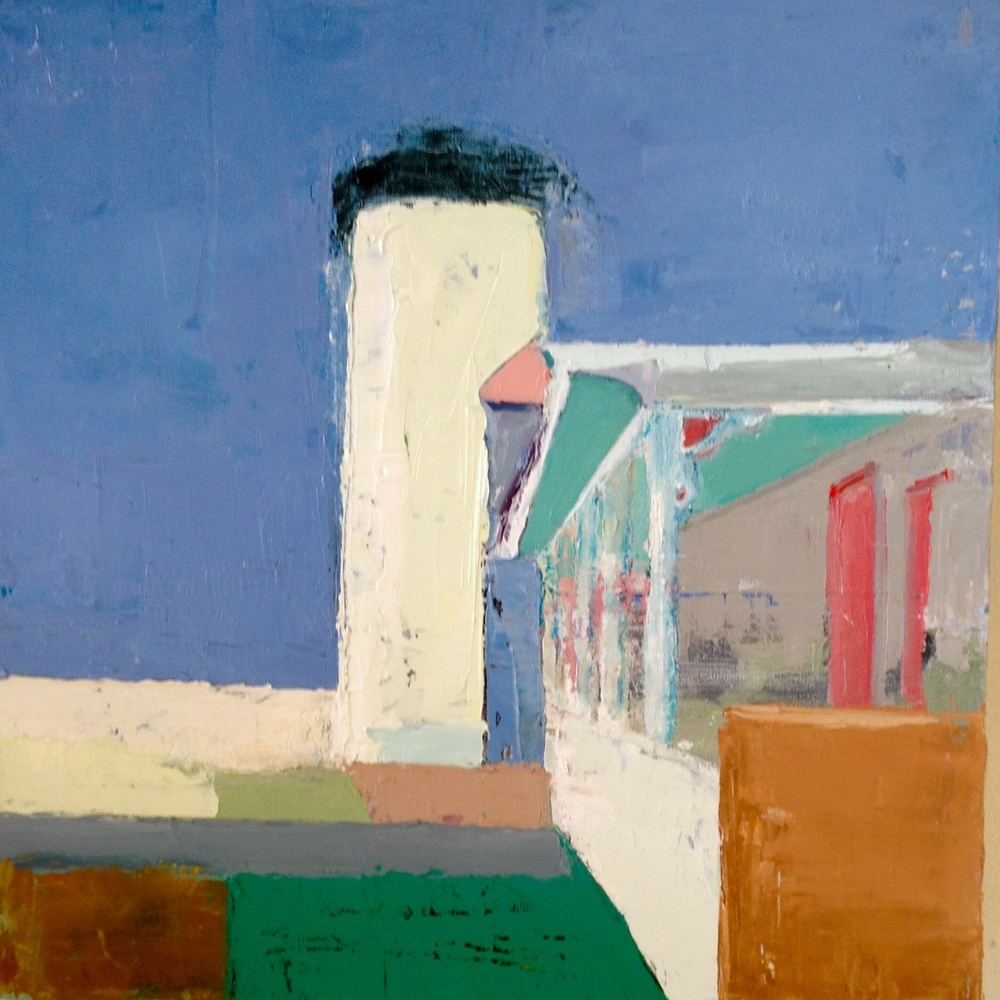 """Vineyard Lighthouse, 10""""x10"""", oil on canvas."""