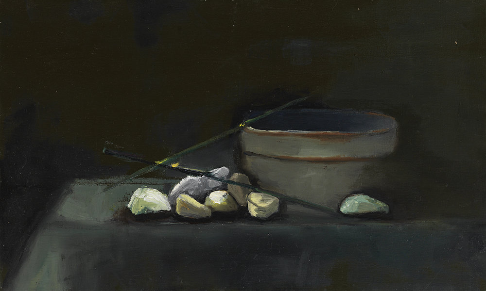 "Brussell Sprouts, 10""x20"", oil on canvas, 2012"