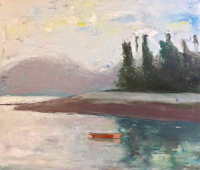 "Deer Isle, 20""x24"",oil and wax on panel, 2017"