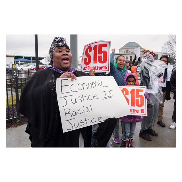 Today in Richmond, Virginia and also across the country, fast food workers and others in support held rallies as part of the fight to raise minimum wage to $15 an hour.  The date is special as it is around the 50th anniversary mark  of the Memphis sanitation strike in 1968 which was and is a rallying point in the Civil Rights movement. The main event was held in Memphis from Clayborn Temple to  City Hall, the same route taken during the 1968 strike.  photos by: @eyeneyevisions #rvanews #richmondva #fightfor15 #raiseupfor15 #communityjustice #communityjusticerva #communityjusticefilmseries #minimumwage #rvamag #styleweekly #mcdonalds #leadersofthenewsouth