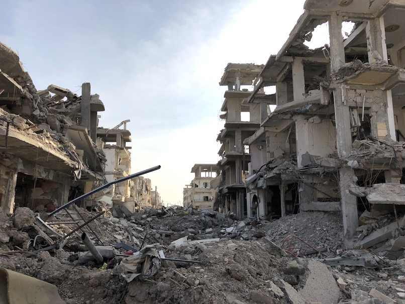 Raqqa, Syria. Nearly every street in the city looks this way.