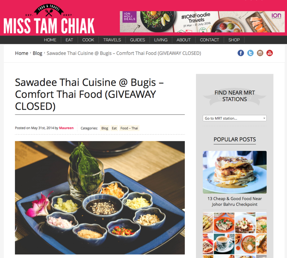 Miss Tam Chiak, Comfort Thai Food, May 2014