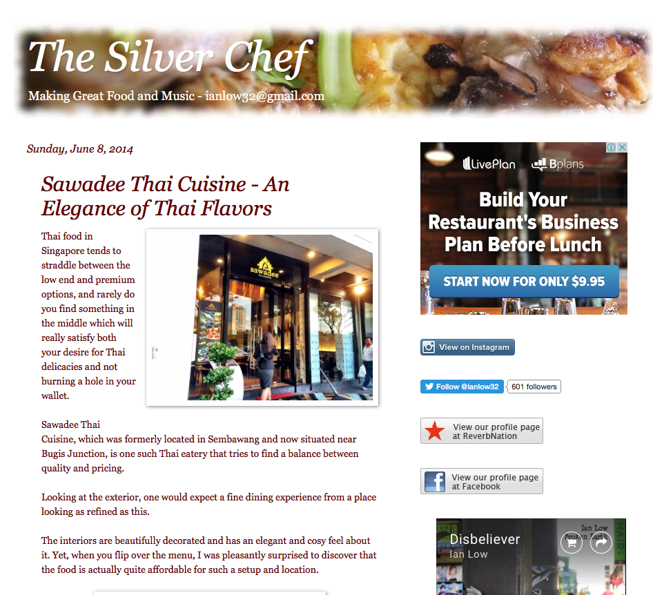 The Silver Chef,  An Elegance of Thai Flavors, June 2014
