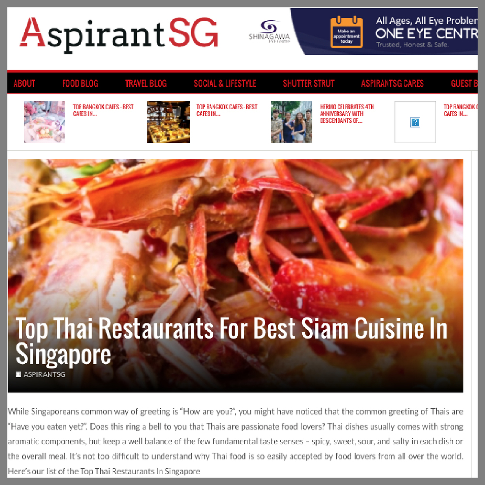 Aspirants SG, Top Thai Restaurants for Best Siam Cuisine in Singapore, 2016