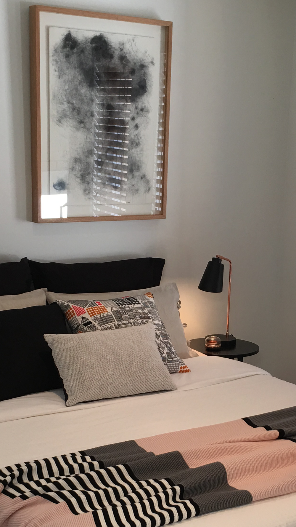 Bedroom styling   with framed artwork for a South Melbourne property