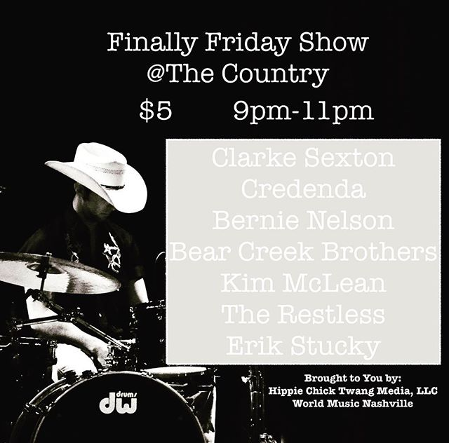 NEXT FRIDAY! See you there...you won't want to miss this one. 🎸🎸🎸 🎸🎸 🎸 #finallyfriday #hippiechicktwang #artistshowcase #nashville #615 #nashvillesongwriters #nashvilleshow #musiccity #musiccityusa