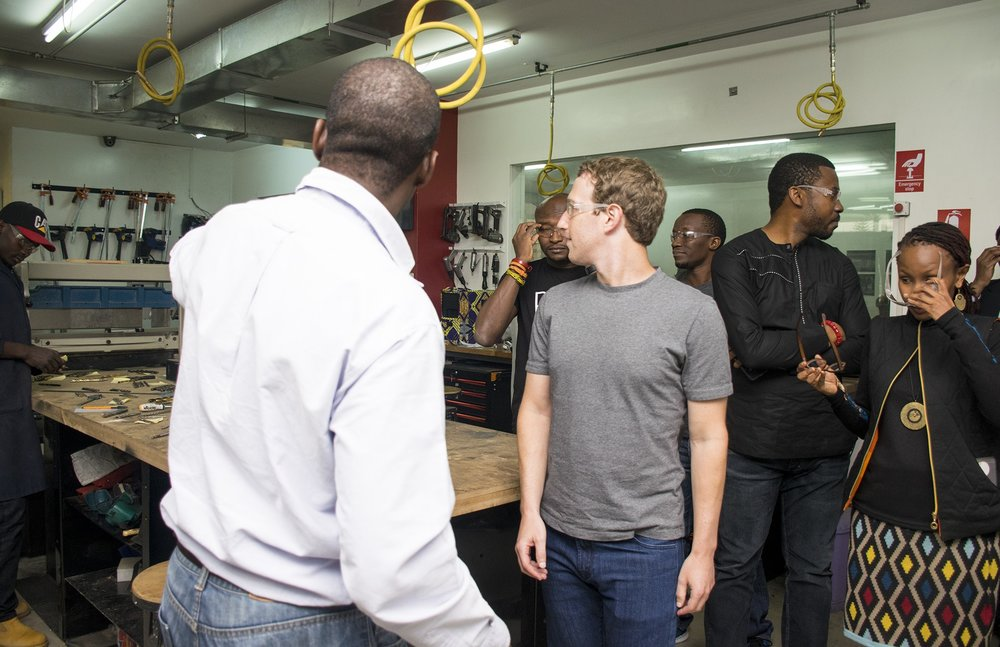 Dr. Kamau showing Zuckerberg round the Mechanical workshop at Gearbox.