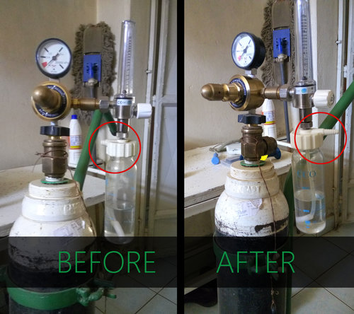Before and after repair of a hospital oxygen flow meter